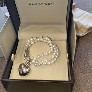 Burberry silver watch with pearls
